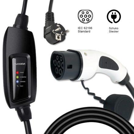 elektromos autó konnektoros töltőkábel 3,7 kW, Type2, DUOSIDA